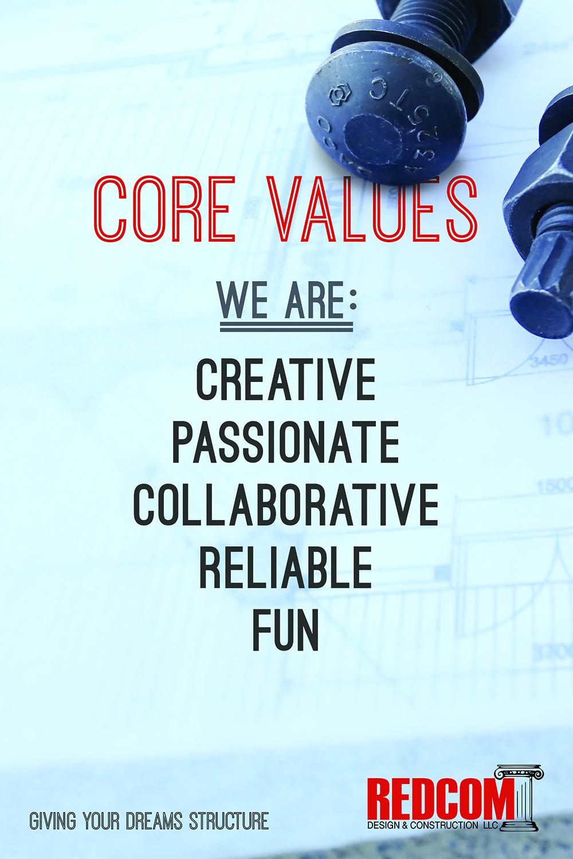 Core values We are: Creative, passionate, collaborative, reliable, fun