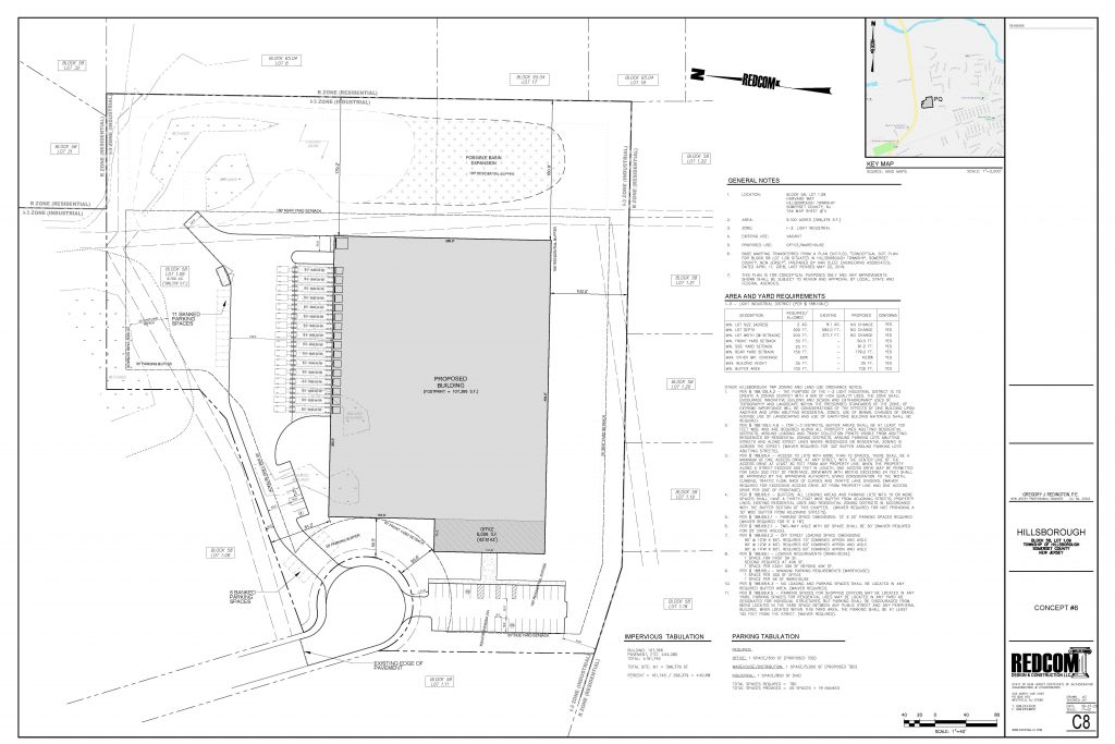Site plan of an industrial warehouse in New Jersey.