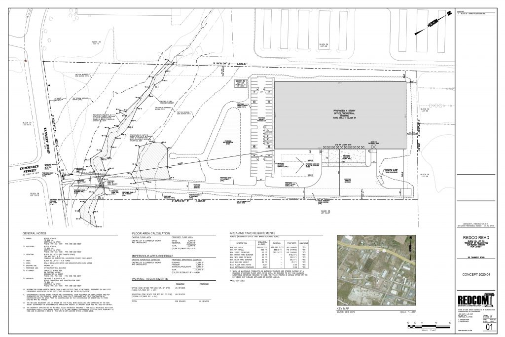 Site plans for industrial warehouse in New Jersey that will be used for manufacturing.