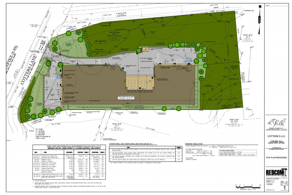 Site plan of New Jersey warehouse with industrial use.