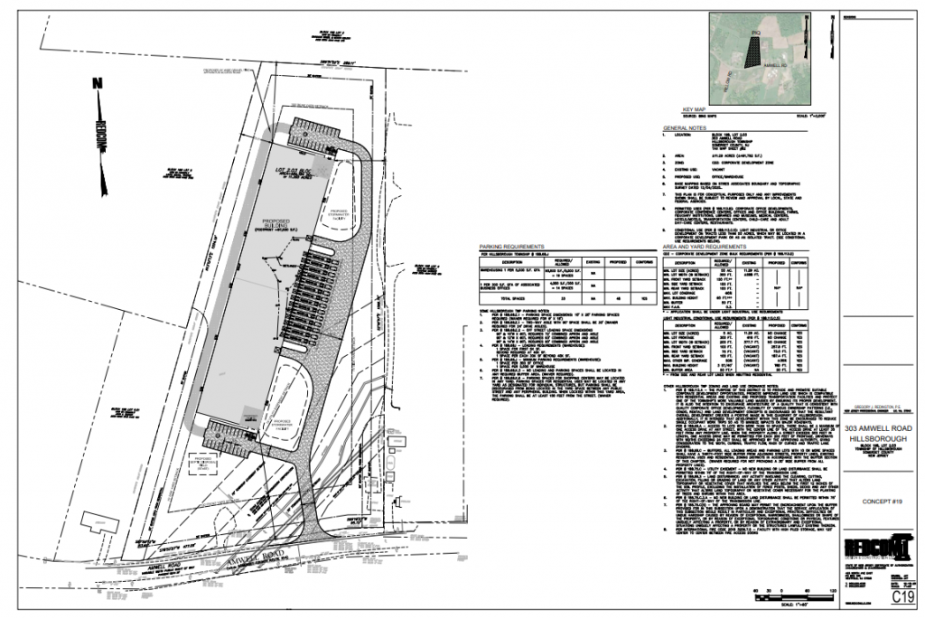 Site plan of proposed industrial warehouse in New Jersey.